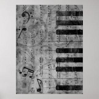 Notas antiguas frescas de la música del piano del  póster