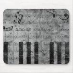 Notas antiguas frescas de la música del piano del  mouse pads