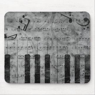 Notas antiguas frescas de la música del piano del  alfombrilla de raton