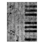 Notas antiguas frescas de la música del piano del  tarjetas postales