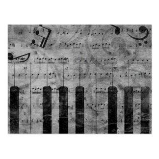 Notas antiguas frescas de la música del piano del tarjeta postal