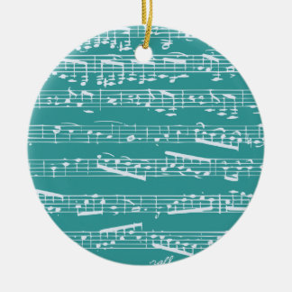 Notas azules de la música de la aguamarina adorno navideño redondo de cerámica