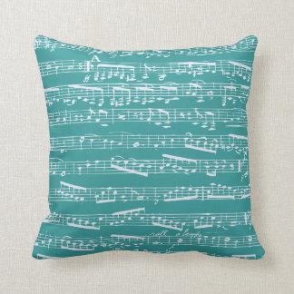 Notas azules de la música de la aguamarina cojines
