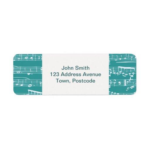 Notas azules de la música de la aguamarina etiquetas de remite
