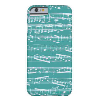 Notas azules de la música de la aguamarina funda de iPhone 6 barely there