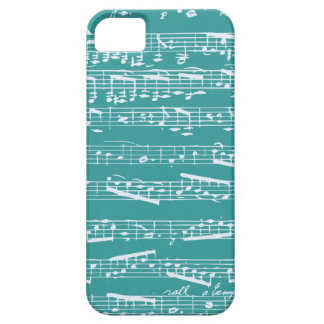 Notas azules de la música de la aguamarina iPhone 5 fundas