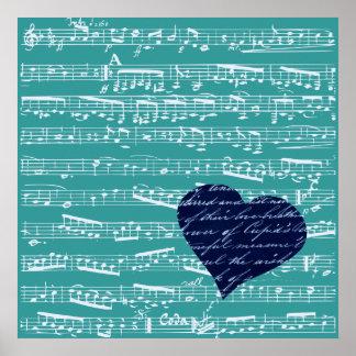 Notas azules de la música de la aguamarina póster