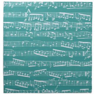 Notas azules de la música de la aguamarina servilletas de papel