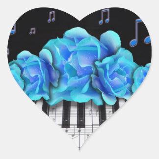 Notas azules del teclado y de la música de piano pegatina en forma de corazón