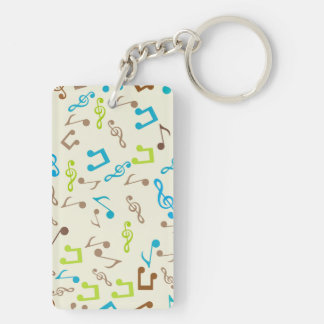 Notas azules y verdes fabulosas de la música llavero rectangular acrílico a doble cara
