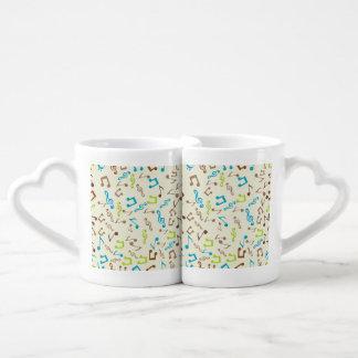 Notas azules y verdes fabulosas de la música set de tazas de café