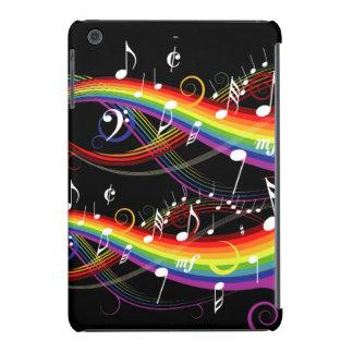 Notas blancas de la música del arco iris fundas de iPad mini