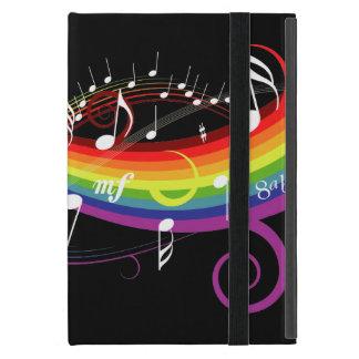 Notas blancas de la música del arco iris iPad mini protector