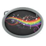Notas blancas de la música del arco iris hebilla de cinturón oval