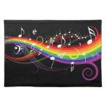 Notas blancas de la música del arco iris mantel individual
