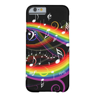 Notas blancas de la música del arco iris sobre funda de iPhone 6 barely there