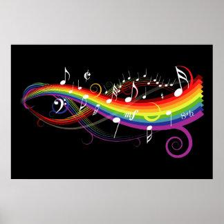 Notas blancas de la música del arco iris sobre póster