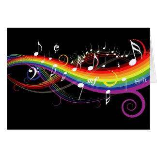 Notas blancas de la música del arco iris felicitación