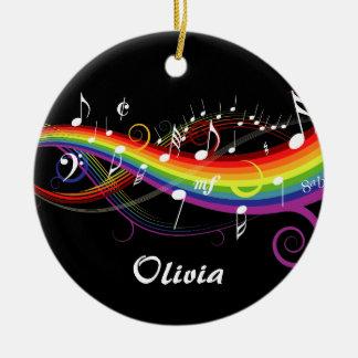 Notas blancas personalizadas de la música del arco adorno navideño redondo de cerámica