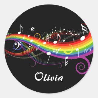 Notas blancas personalizadas de la música del arco pegatina redonda