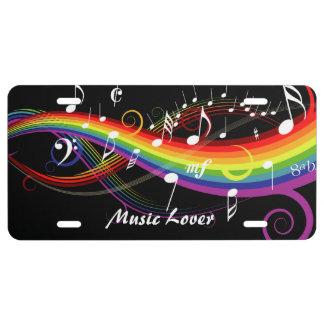Notas blancas personalizadas de la música del arco placa de matrícula