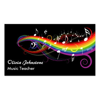 Notas blancas personalizadas de la música del arco tarjetas de visita