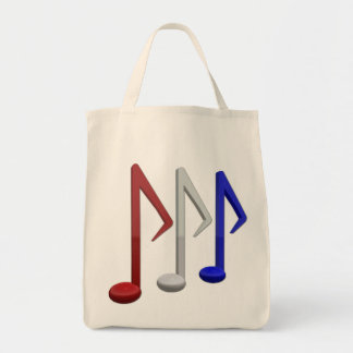 Notas blancas y azules rojas de la música bolsa tela para la compra