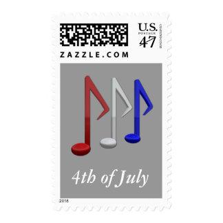 Notas blancas y azules rojas de la música para el sello