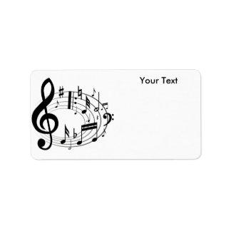 Notas blancas y negras de la música de la escala etiquetas de dirección
