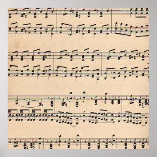 Notas blancos y negros de la cuenta de la partitur impresiones