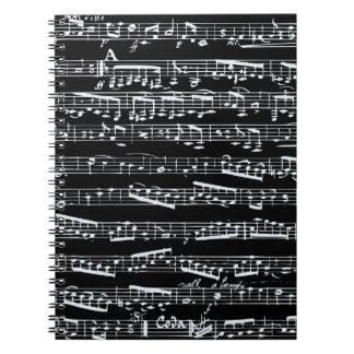 Notas blancos y negros de la música libro de apuntes
