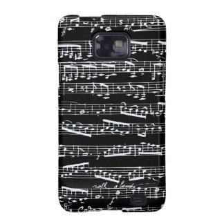 Notas blancos y negros de la música samsung galaxy s2 carcasa