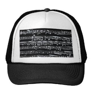 Notas blancos y negros de la música gorra
