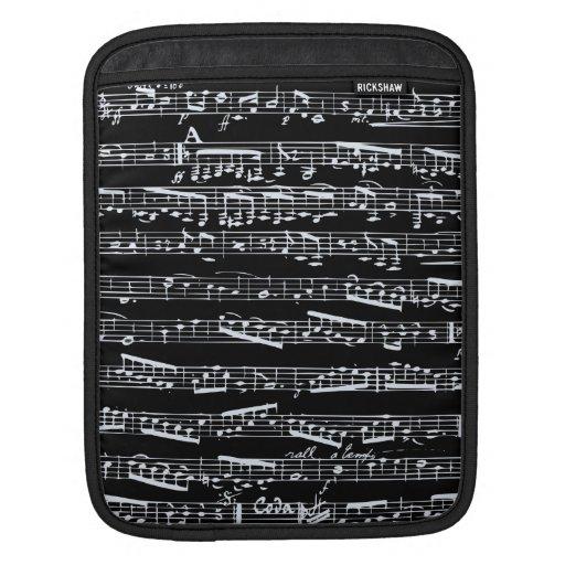Notas blancos y negros de la música mangas de iPad