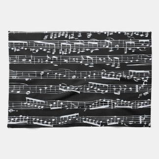 Notas blancos y negros de la música toallas