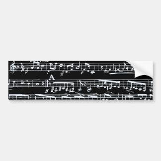 Notas blancos y negros de la música pegatina para auto