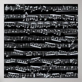 Notas blancos y negros de la música póster