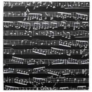 Notas blancos y negros de la música servilletas de papel