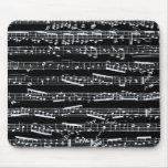 Notas blancos y negros de la música alfombrilla de ratón