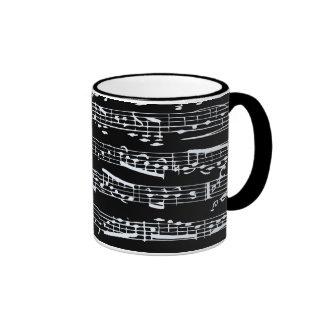 Notas blancos y negros de la música tazas