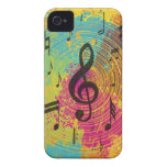 Notas brillantes de la música sobre la explosión Case-Mate iPhone 4 protectores