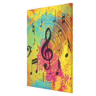 Notas brillantes de la música sobre la explosión impresiones en lienzo estiradas