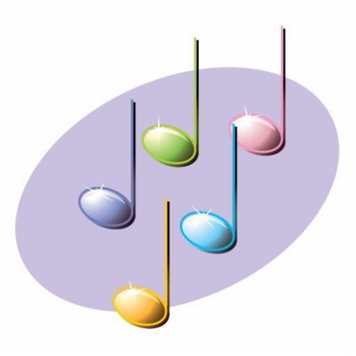 notas brillantes en colores pastel de la música esculturas fotográficas