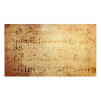 Notas clásicas antiguas de la música tarjetas de visita