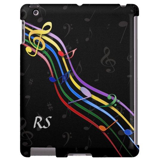 Notas coloreadas arco iris con monograma de la mús