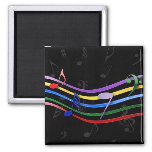 Notas coloreadas arco iris de la música imán cuadrado