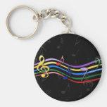 Notas coloreadas arco iris de la música llaveros personalizados