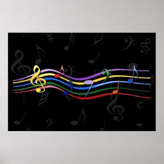 Notas coloreadas arco iris de la música impresiones