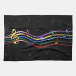 Notas coloreadas arco iris de la música toalla de cocina