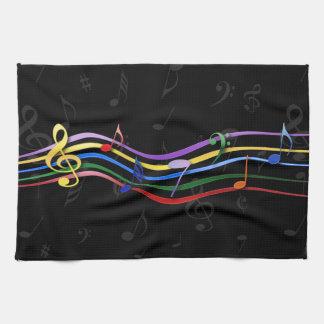 Notas coloreadas arco iris de la música toallas de mano